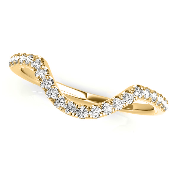 Diamond Accented Contoured Wedding Band 18k Yellow Gold (0.17ct)