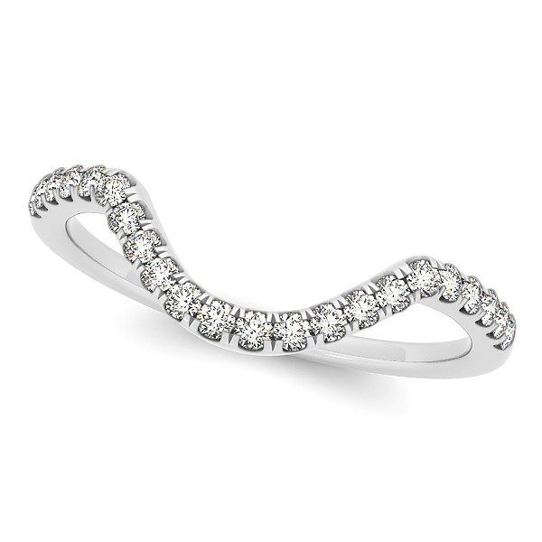 Diamond Semi Eternity Contour Wedding Band in 14k White Gold 0.17ct