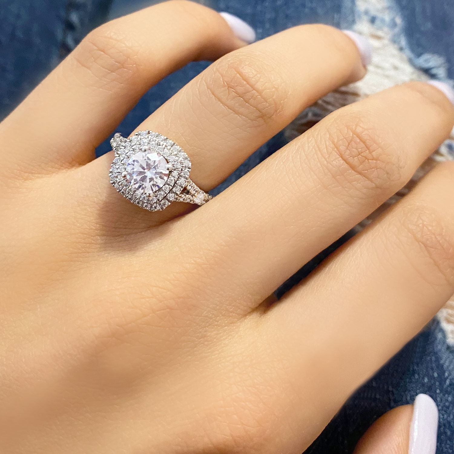 square double halo diamond engagement ring 14k white gold 062ct