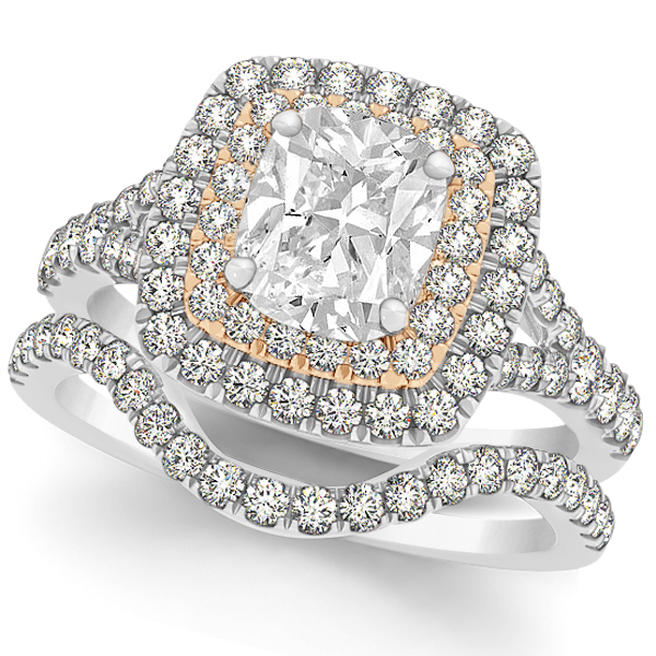 Double Halo Cushion Diamond Bridal Set in 14k Two-Tone Gold (2.20ct)