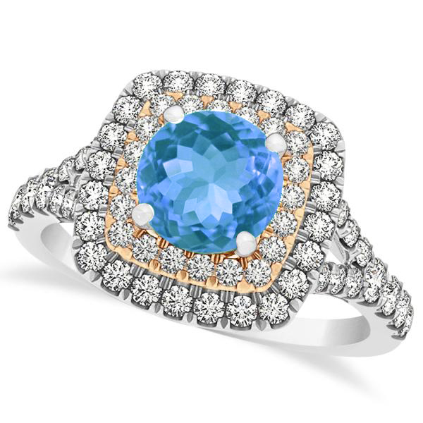 Square Double Halo Blue Topaz Engagement Ring 14k Two-Tone Gold (1.38ct)