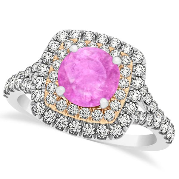 Square Double Halo Pink Sapphire Engagement Ring 14k Two-Tone Gold 1.38ct