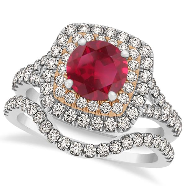 Square Double Halo Ruby Ring & Band Bridal Set 14k Two-Tone Gold 1.55ct