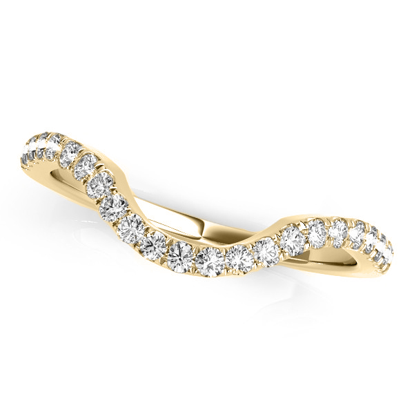 Diamond Accented Contoured Wedding Band 18k Yellow Gold (0.25ct)