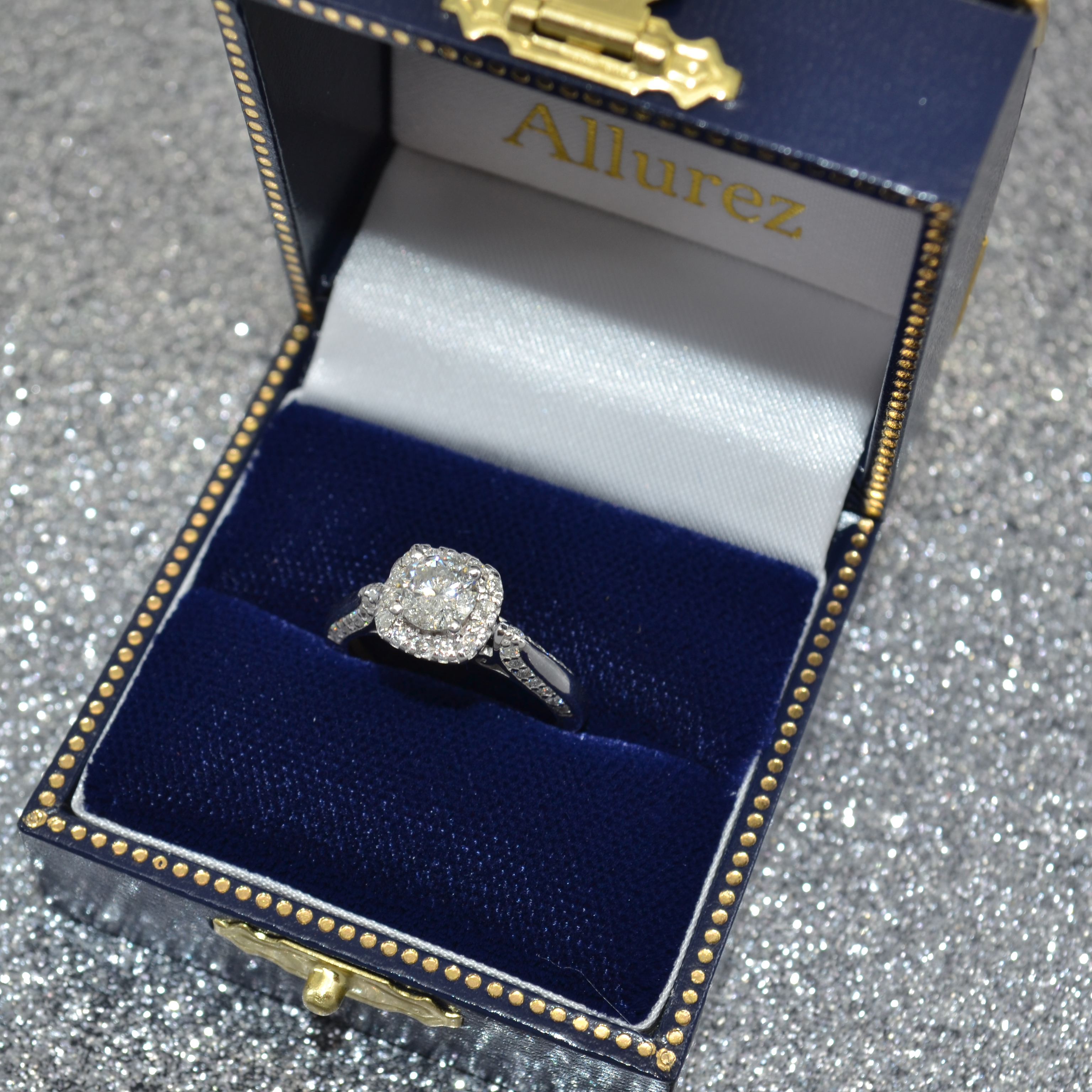 Square Halo Diamond Accented Engagement Ring 14k White Gold 1.00ct