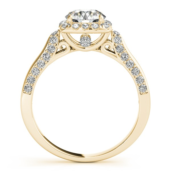 Square Halo Diamond Accented Engagement Ring 14k Yellow Gold 1.00ct