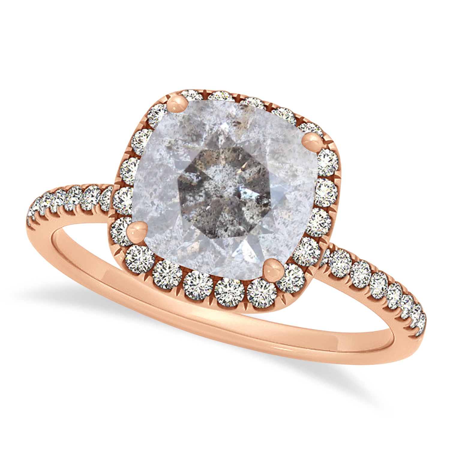 Cushion Salt & Pepper Diamond Halo Engagement Ring French Pave 14k R. Gold 2.00ct