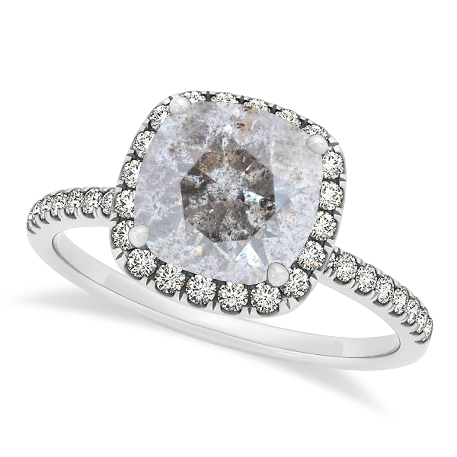 Cushion Salt & Pepper Diamond Halo Engagement Ring French Pave 14k W. Gold 2.00ct