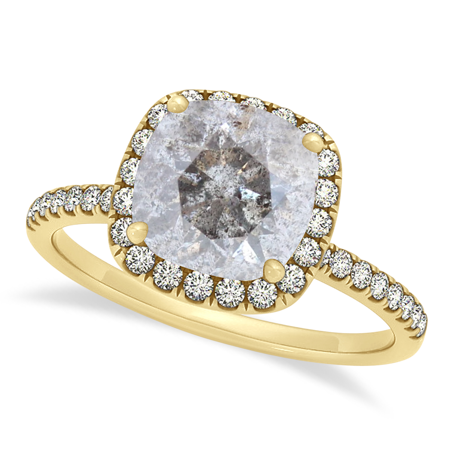 Cushion Salt & Pepper Diamond Halo Engagement Ring French Pave 14k Y. Gold 0.70ct