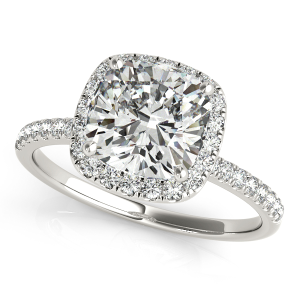 Cushion Diamond Halo Engagement Ring French Pave Platinum 1 58ct