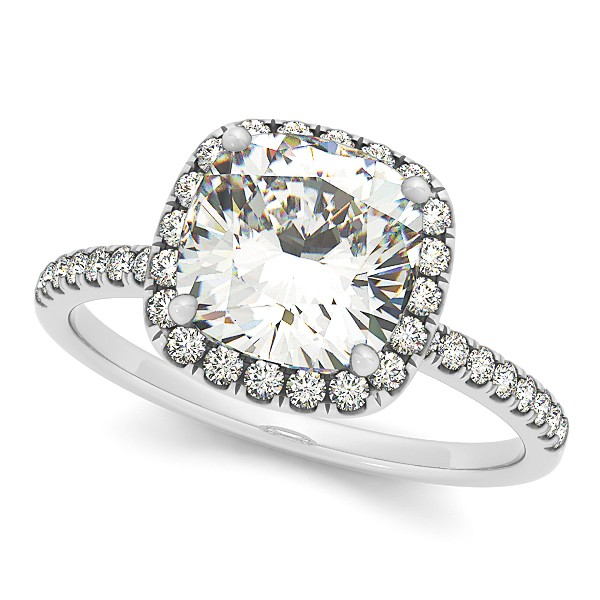 Cushion Moissanite & Diamond Halo Engagement Ring French Pave 18k W. Gold 0.70ct