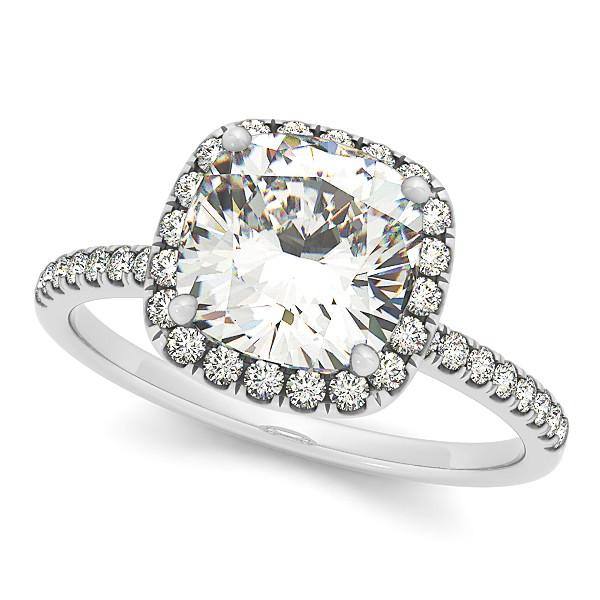 Cushion Moissanite & Diamond Halo Engagement Ring French Pave Platinum 1.58ct