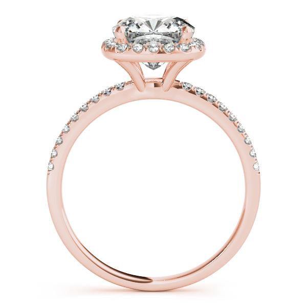 Cushion Diamond Halo Bridal Set French Pave 14k Rose Gold ...