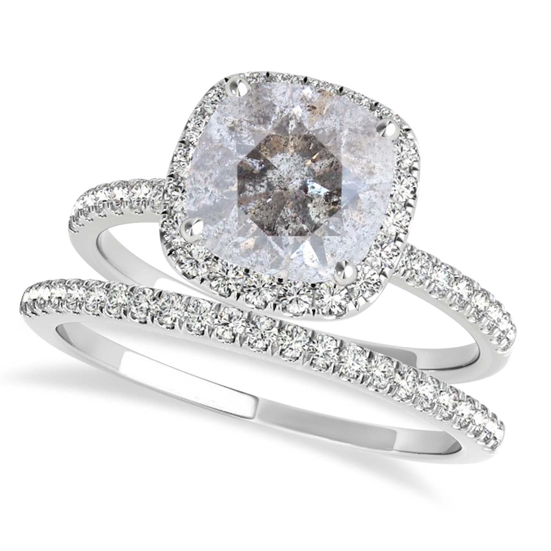 Cushion Salt & Pepper Diamond Halo Bridal Set French Pave 18k White Gold 2.14ct