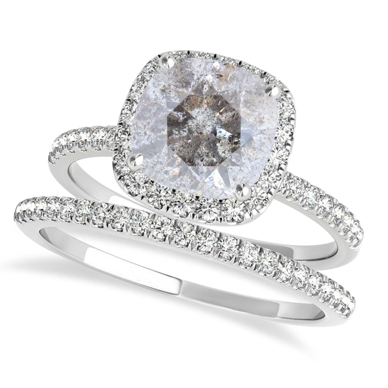 Cushion Salt & Pepper Diamond Halo Bridal Set French Pave Platinum 0.84ct