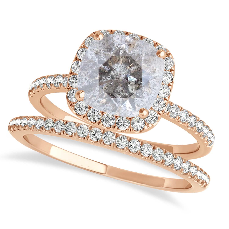 Cushion Salt & Pepper Diamond Halo Bridal Set French Pave 14k Rose Gold 1.72ct