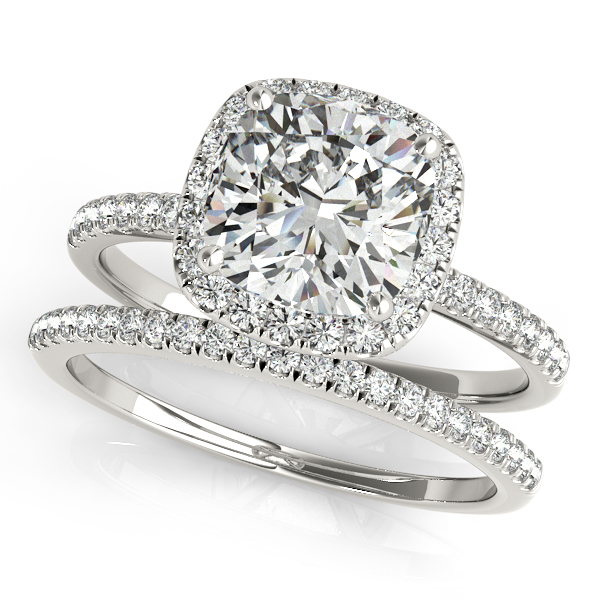 Cushion Moissanite & Diamond Halo Bridal Set French Pave 14k White Gold 0.84ct
