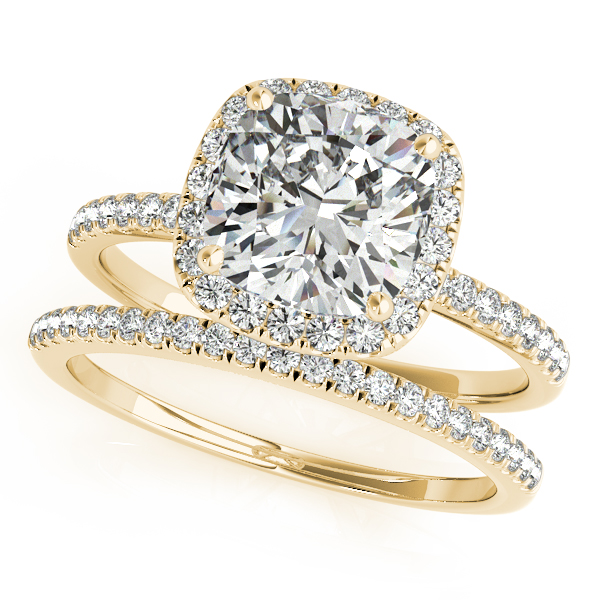 Cushion Moissanite & Diamond Halo Bridal Set French Pave 14k Yellow Gold 0.84ct
