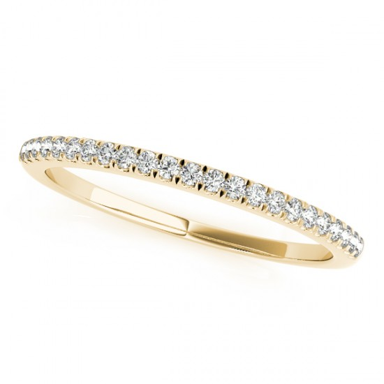 Moissanite Accented Wedding Band 18k Yellow Gold (0.14ct)