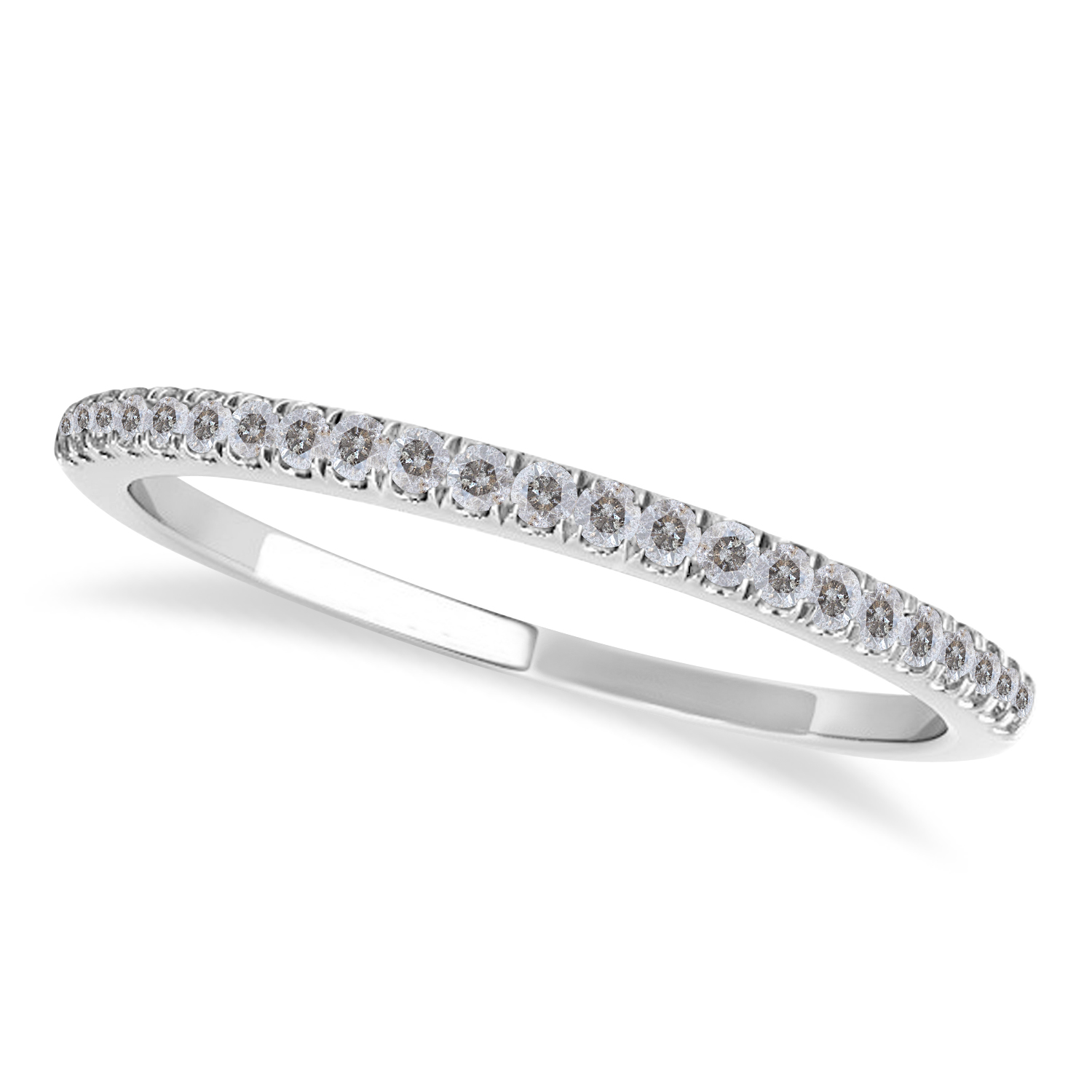 Salt & Pepper Diamond Accented Wedding Band 14k White Gold (0.14ct)