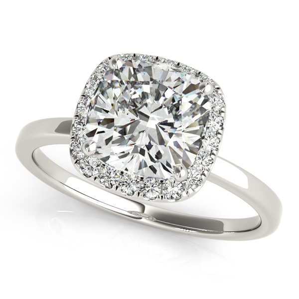 Cushion Solitaire Diamond Halo Engagement Ring 14k White Gold (1.00ct)