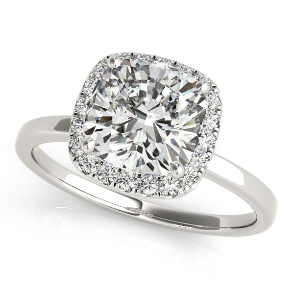 Cushion Solitaire Diamond Halo Engagement Ring Platinum (1.00ct)