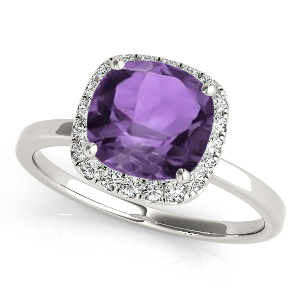 Cushion Amethyst & Diamond Halo Engagement Ring 18k White Gold (1.00ct)