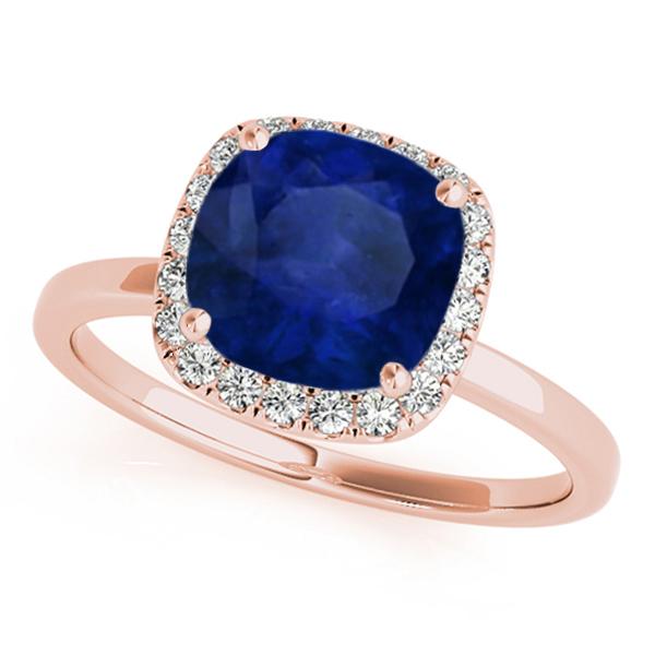 Cushion Blue Sapphire & Diamond Halo Engagement Ring 14k Rose Gold (1.00ct)