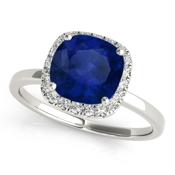 Cushion Blue Sapphire & Diamond Halo Engagement Ring 14k White Gold (1.00ct)