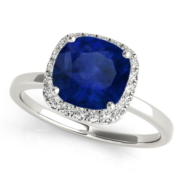 Cushion Blue Sapphire & Diamond Halo Engagement Ring 18k White Gold (1.00ct)