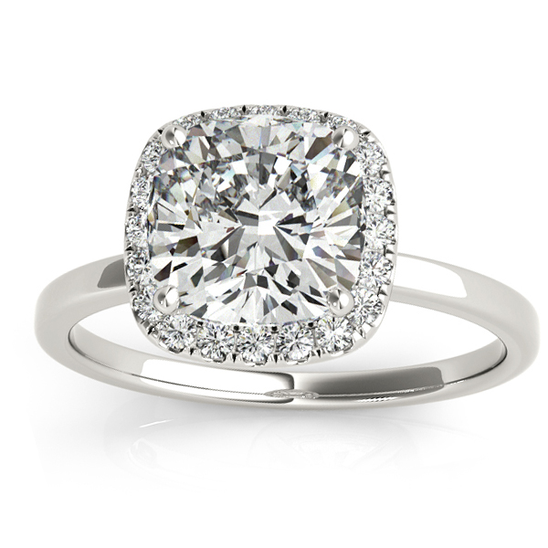 Cushion Diamond Halo Engagement Ring 18k White Gold (0.15ct)