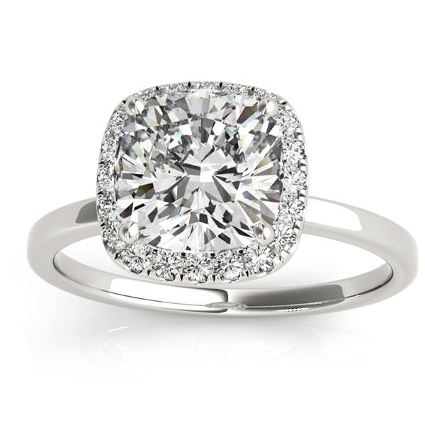 Cushion Diamond Halo Engagement Ring Palladium (0.15ct)