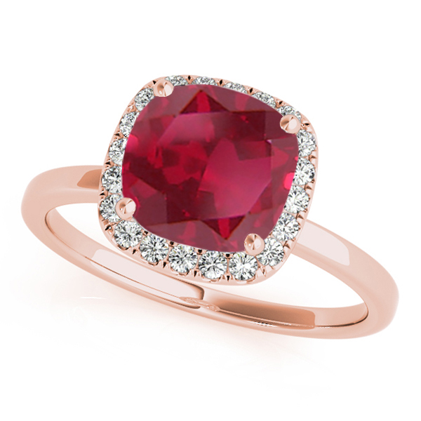 Cushion Ruby & Diamond Halo Engagement Ring 14k Rose Gold (1.00ct)