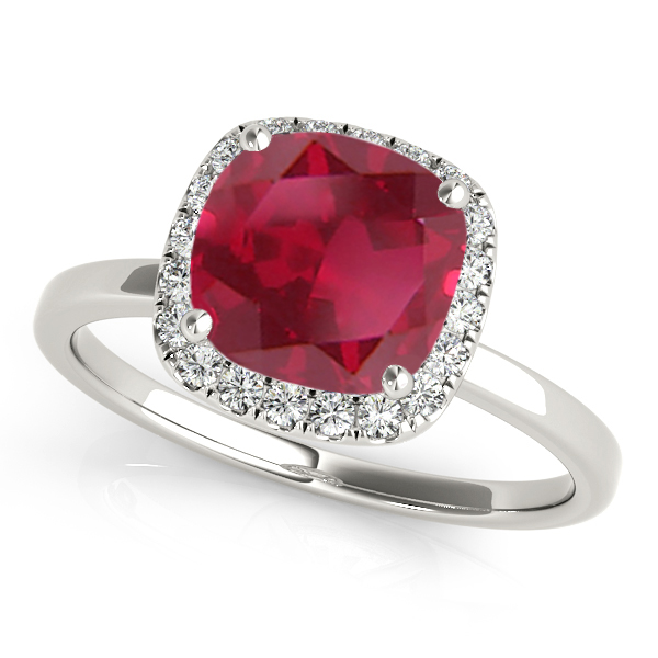 Cushion Ruby & Diamond Halo Engagement Ring Palladium (1.00ct)