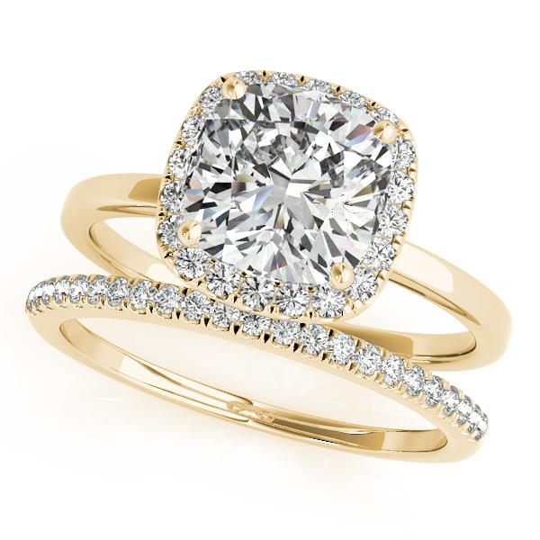 Cushion Diamond Halo Bridal Set 14k Yellow Gold (1.14ct)