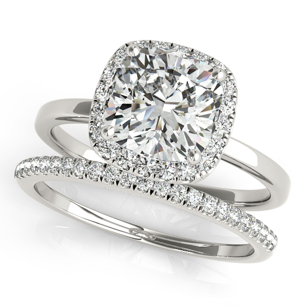 Cushion Diamond Halo Bridal Set Platinum (1.14ct)