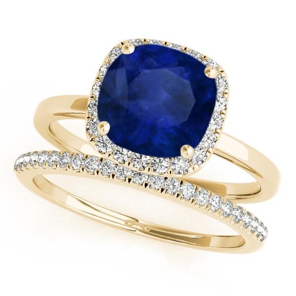Cushion Blue Sapphire & Diamond Halo Bridal Set 14k Yellow Gold (1.14ct)