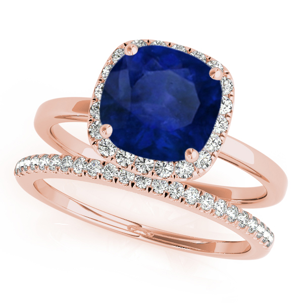 Cushion Blue Sapphire & Diamond Halo Bridal Set 18k Rose Gold (1.14ct)