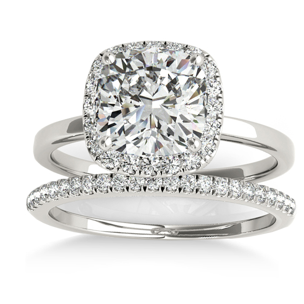 Cushion Diamond Halo Bridal Set 14k White Gold (0.29ct)