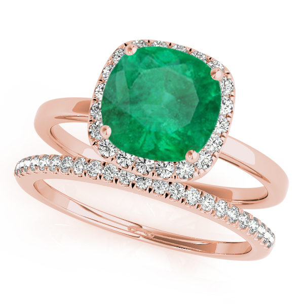 Cushion Emerald & Diamond Halo Bridal Set 14k Rose Gold (1.14ct)