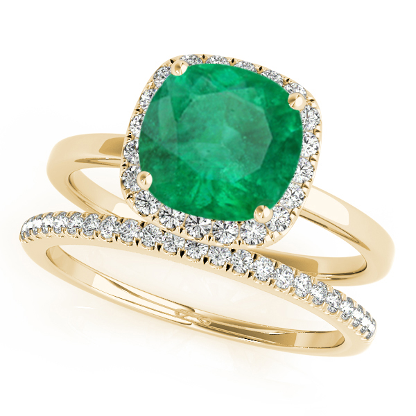 Cushion Emerald & Diamond Halo Bridal Set 14k Yellow Gold (1.14ct)