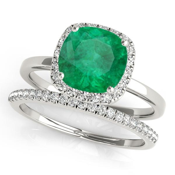 Cushion Emerald & Diamond Halo Bridal Set Palladium (1.14ct)