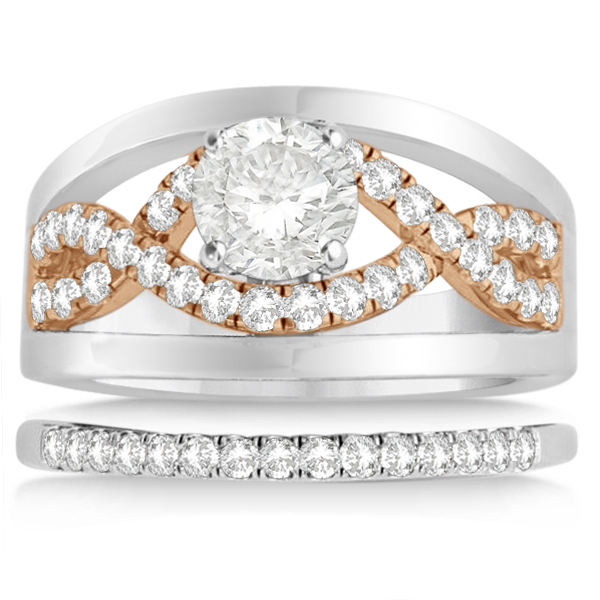 Split Shank & Infinity Engagement Ring Bridal Set 14k Two Tone Gold (0.25ct)