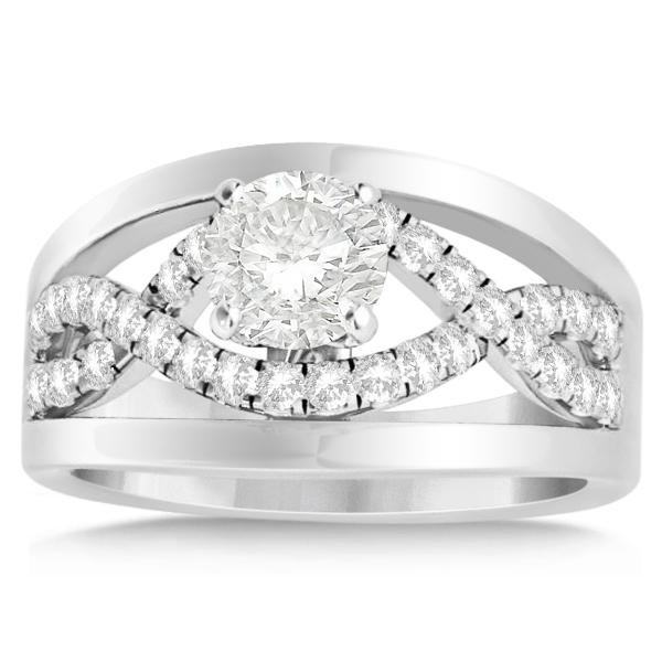 Split Shank & Infinity Engagement Ring Bridal Set 14k White Gold (0.25ct)