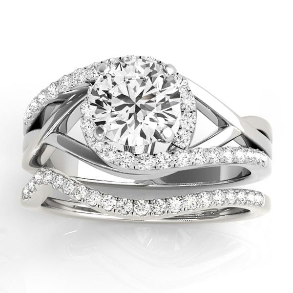 Diamond Engagement Ring Setting & Band Bridal Set 14k W. Gold 0.38ct