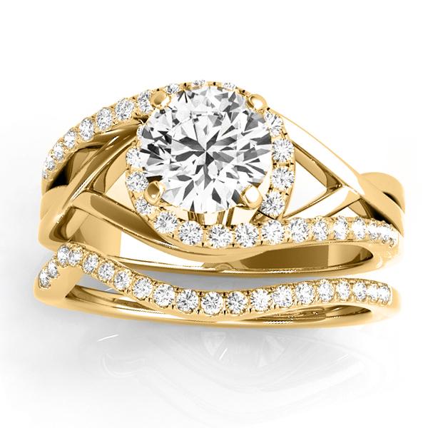 Diamond Engagement Ring Setting, Band Bridal Set 14k 2 Tone Gold 0.38ct