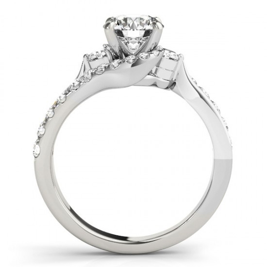 Bypass Engagement Ring & Curved Band Bridal Set 14k W. Gold 0.67ct