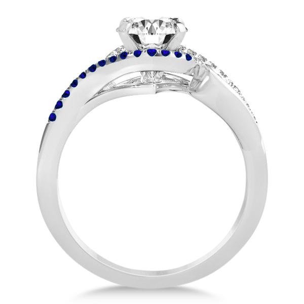 Swirl Bypass Diamond Blue Sapphire Engagement Ring 14k W Gold 0.20ct