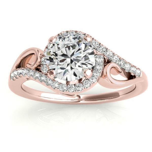 Diamond Swirl Engagement Ring & Band Bridal Set 14k Rose Gold 0.36ct