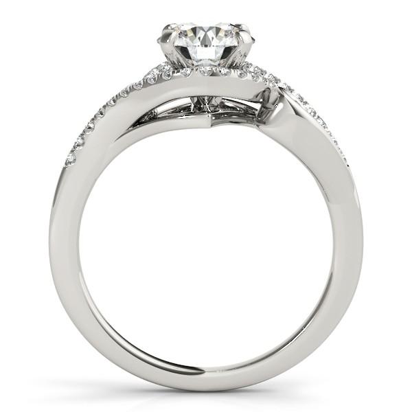 Diamond Swirl Engagement Ring & Band Bridal Set 14k White Gold 0.36ct